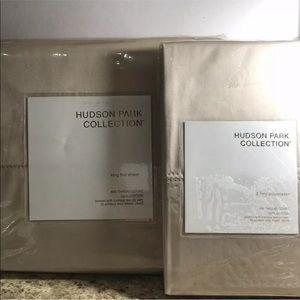 80% Off Hudson Park 600TC Egyptian KING FLAT+2pill